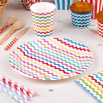 Carnival Multi Coloured Paper Plates - Waves (8)